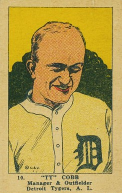 1923 W515-1 Strip Card Ty Cobb #10 Baseball Card