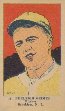 1923 W515-1 Strip Card Burleigh Grimes #16 Baseball Card