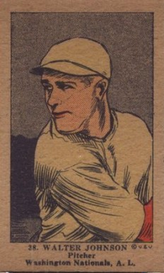 1923 W515-1 Strip Card Walter Johnson #38 Baseball Card