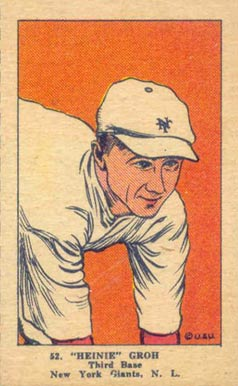 "1923 W515-1 Strip Card ""Heinie"" Groh #52 Baseball Card"