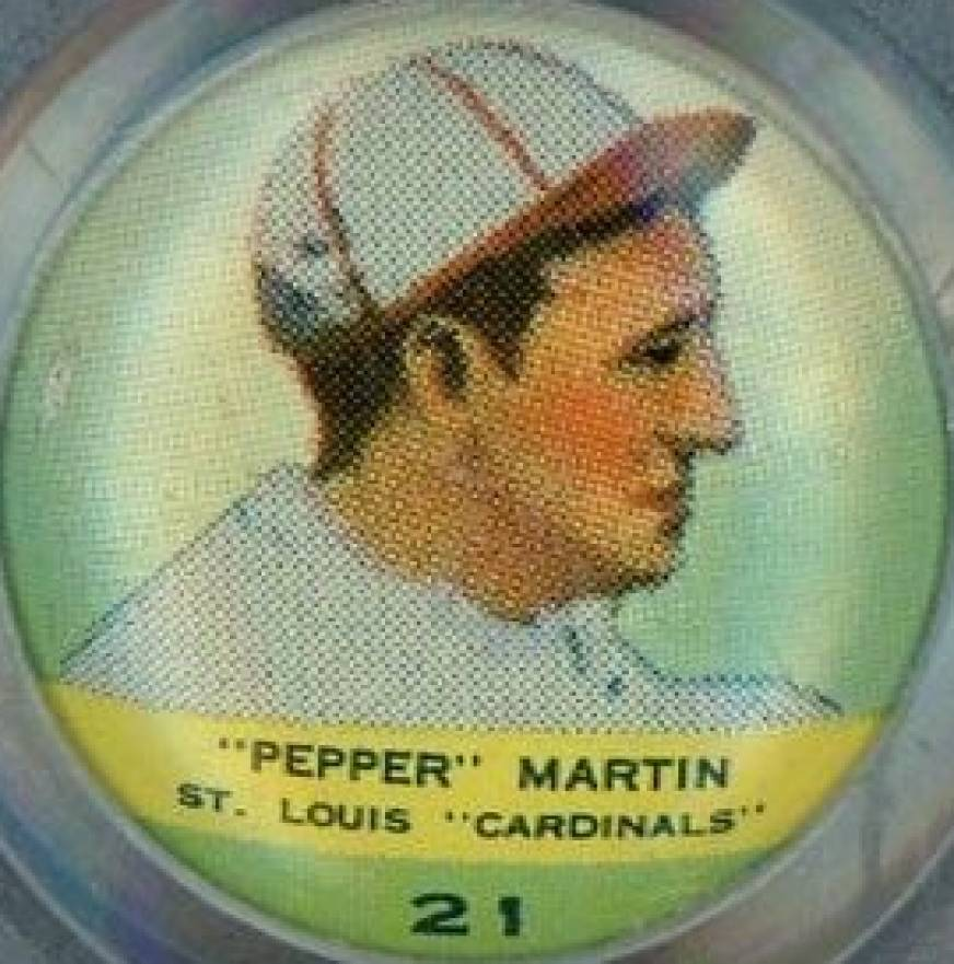1932 Orbit Gum Pins Numbered Pepper Martin #21 Baseball Card