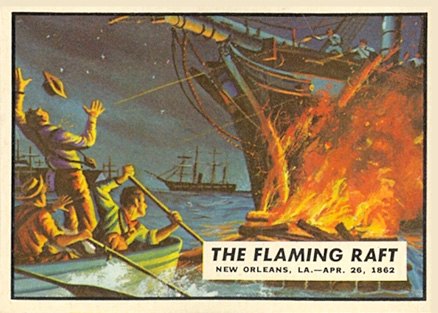 1962 Topps Civil War News The Flaming Raft #17 Non-Sports Card
