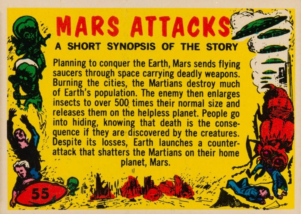 1962 Mars Attacks Checklist #55 Non-Sports Card