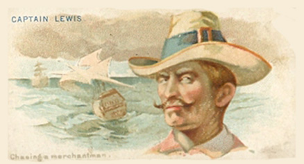 1888 Allen & Ginter Pirates of the Spanish Main Captain  Lewis #28 Non-Sports Card