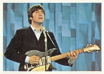 1964 Beatles Color John playing guitar #14 Non-Sports Card