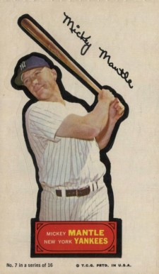 1968 Topps Action All Star Stickers Mickey Mantle 7