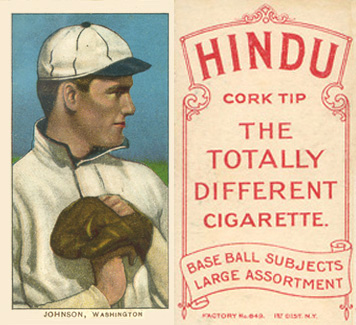 1909 White Borders (Red Hindu) Walter Johnson #235 Baseball Card