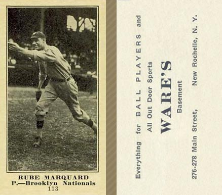 1916 Wares Rube Marquard #113 Baseball Card