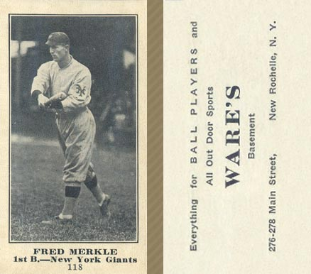 1916 Wares Fred Merkle #118 Baseball Card