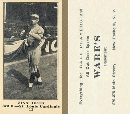 1916 Wares Zinn Beck #12 Baseball Card