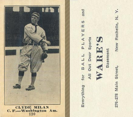 1916 Wares Clyde Milan #120 Baseball Card