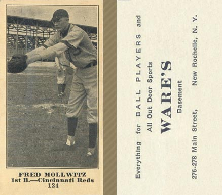1916 Wares Fred Mollwitz #124 Baseball Card