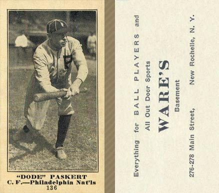 1916 Wares Dode Paskert #136 Baseball Card