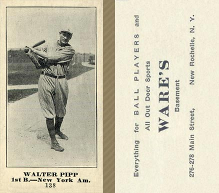 1916 Wares Walter Pipp #138 Baseball Card