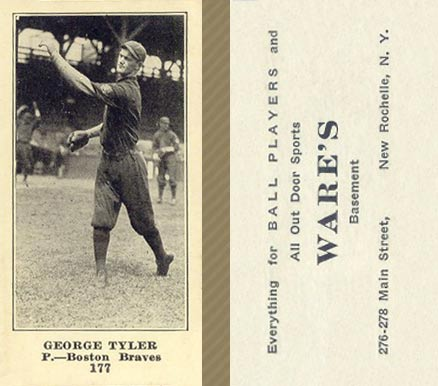 1916 Wares George Tyler #177 Baseball Card