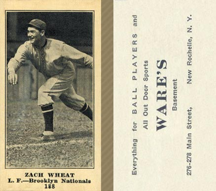 1916 Wares Zach Wheat #188 Baseball Card