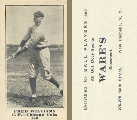 1916 Wares Fred Williams #190 Baseball Card