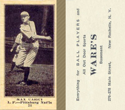 1916 Wares Max Carey #28 Baseball Card
