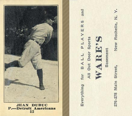 1916 Wares Jean Dubuc #52 Baseball Card