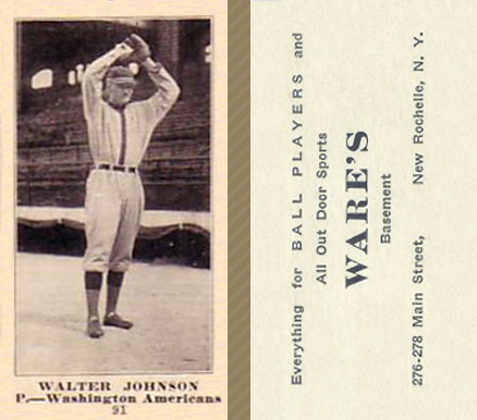 1916 Wares Walter Johnson #91 Baseball Card