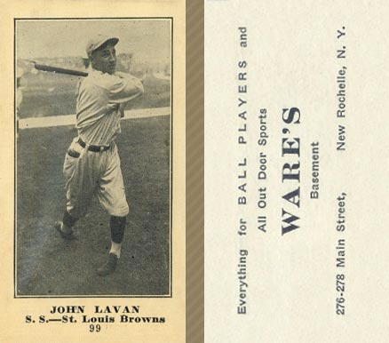 1916 Wares John Lavan #99 Baseball Card