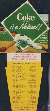 1952 Coca-Cola Playing Tips Gil Hodges #3 Baseball Card