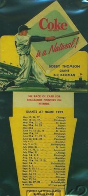 1952 Coca-Cola Playing Tips Bobby Thomson #9 Baseball Card