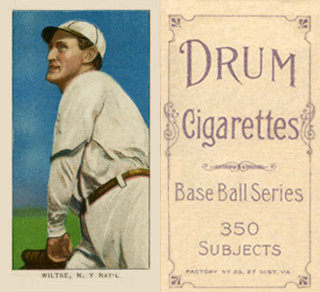1909 White Borders (Drum 350) Hooks Wiltse #517 Baseball Card