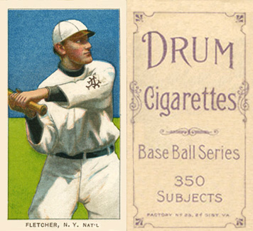 1909 White Borders Drum 350 Fletcher, N.Y. Nat'L #175 Baseball Card
