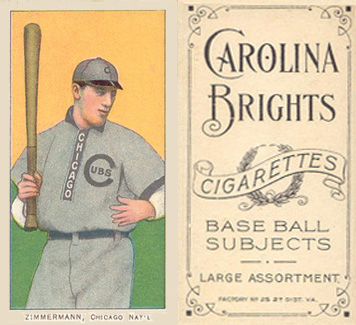 1909 White Borders (Carolina Brights) Heinie Zimmerman #525 Baseball Card