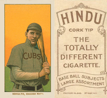 1909 White Borders (Brown Hindu) Wildfire Schulte #430 Baseball Card