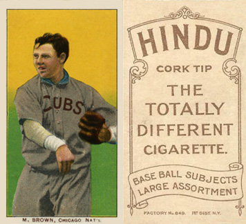 1909 White Borders Hindu-Brown Brown, Chicago Nat'L #58 Baseball Card