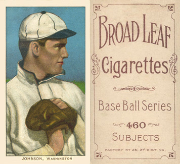 1909 White Borders (Broadleaf 460) Walter Johnson #235 Baseball Card