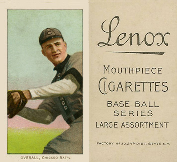 1909 White Borders (Black Lenox) Orval Overall #374 Baseball Card