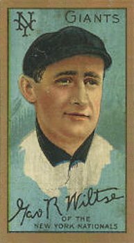 1911 Gold Borders Hooks Wiltse #218 Baseball Card