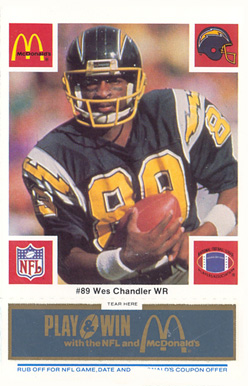 1986 McDonald's Chargers Wes  Chandler #89 Football Card