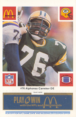 1986 McDonald's Packers Alphonso  Carreker #76 Football Card