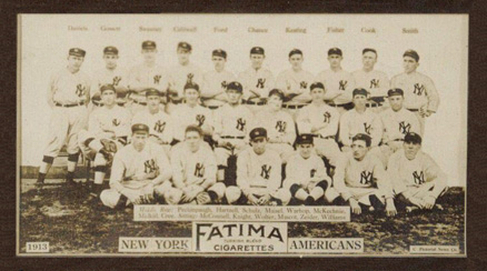 1913 Fatima Team Cards New York Yankees Team #13 Baseball Card