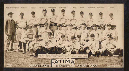 1913 Fatima Team Cards Cleveland Indians Team #11 Baseball Card