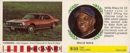 1968 American Oil Willie Mays # Baseball Card
