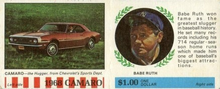 1968 American Oil Babe Ruth # Baseball Card
