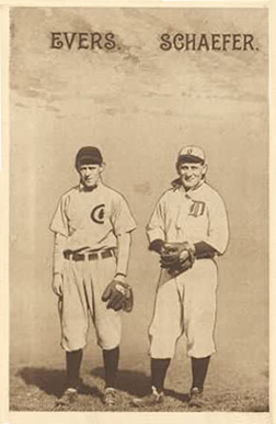 1910 Sepia Postcards Evers. Schaefer. #26 Baseball Card