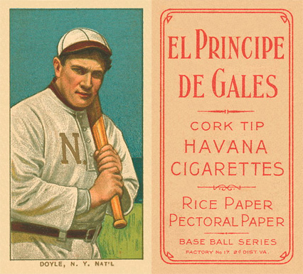 1909 White Borders El Principe De Gales Doyle, N.Y. Nat'L #151 Baseball Card