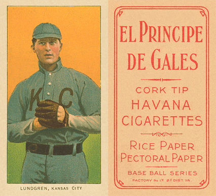 1909 White Borders El Principe De Gales Lundgren, Kansas City #293 Baseball Card
