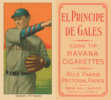 1909 White Borders El Principe De Gales Maddox, Pittsburgh #294 Baseball Card