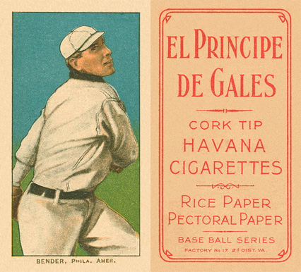 1909 White Borders El Principe De Gales Bender, Phila. Amer. #32 Baseball Card