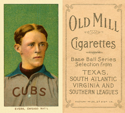 1909 White Borders Old Mill Evers, Chicago Nat'L #166 Baseball Card