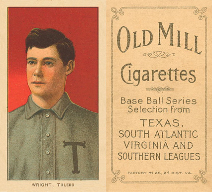 1909 White Borders (Old Mill) Lucky Wright #520 Baseball Card