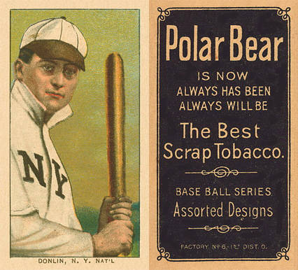 1909 White Borders Polar Bear Donlin, N.Y. Nat'L #133 Baseball Card