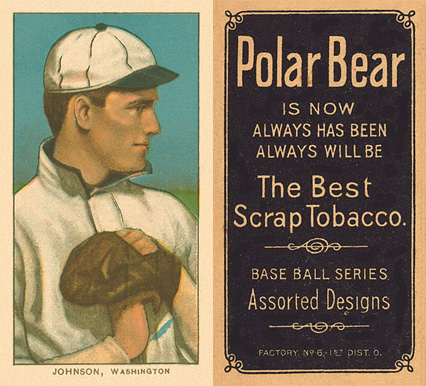 1909 White Borders (Polar Bear) Walter Johnson #235 Baseball Card